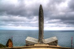 Military memorial on Pointe du Hoc, Normandie, France. stock photo
