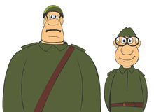 Military men 2. Cartoon illustration. Two funny soldiers. Isolated on white background stock illustration