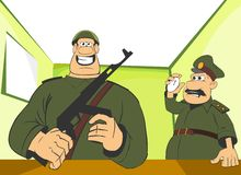 Military men. Cartoon illustration. Soldier with a gun and his commander with a stopwatch Stock Image