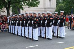 Military men in  Independence Day parade Stock Photography