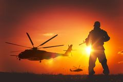 Military Mission at Sunset Stock Photography