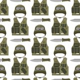 Military modern camouflage helmet army protection seamless pattern background soldier uniform hat protective steel armed Stock Image