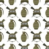 Military modern camouflage helmet army protection seamless pattern  Royalty Free Stock Photos
