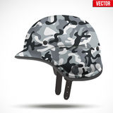 Military modern camouflage helmet. Side view. Army symbol of defense. Vector Illustration  on white background Royalty Free Stock Photos