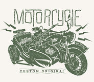 Military Motorcycle whith sidecar hand drawn t-shirt print.  Stock Image