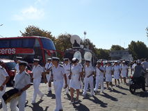 Military music band walking Royalty Free Stock Images