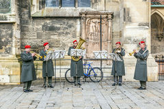 Military music at the dome in vienna while Bishop Franz Scharl is praying Royalty Free Stock Photo