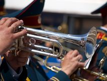 Military musician trumpet Stock Images