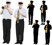 Military musicians. Members of military band playing trumpet and saxophone. Vector illustration and silhouette Stock Photos