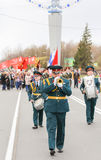 Military musicians in front of the column of the immortal regime Royalty Free Stock Photos