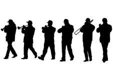Military musicians one. Military musicians on parade on white background stock illustration