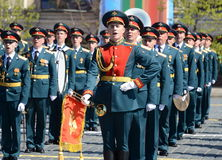 Military musicians at the rehearsal of the parade dedicated to the 72nd anniversary of the Victory in the great Patriotic war. MOSCOW, RUSSIA - MAY 7, 2017 Royalty Free Stock Images