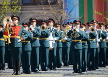 Military musicians at the rehearsal of the parade dedicated to the 72nd anniversary of the Victory in the great Patriotic war. MOSCOW, RUSSIA - MAY 7, 2017 Royalty Free Stock Image