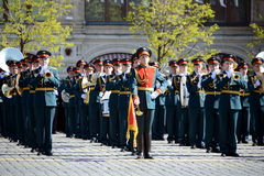 Military musicians at the rehearsal of the parade dedicated to the 72nd anniversary of the Victory in the great Patriotic war. Royalty Free Stock Images