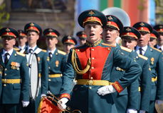 Military musicians at the rehearsal of the parade dedicated to the 72nd anniversary of the Victory in the great Patriotic war. MOSCOW, RUSSIA - MAY 7, 2017 Royalty Free Stock Photography