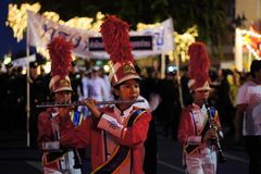 Military Musicians for Thai King's birthday, a Royalty Free Stock Photos