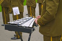 Military musicians with tools Royalty Free Stock Photo