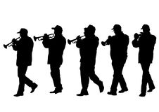 Military musicians two. Military musicians on parade on white background stock illustration