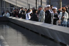 Military at the National September 11 Memorial Royalty Free Stock Images