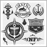 Military and naval forces badges, design elements - vector set. Stock Photo