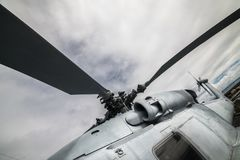 Military navi helicopter blades against blue sky. Military navi helicopter bladesagainst blue sky Stock Images