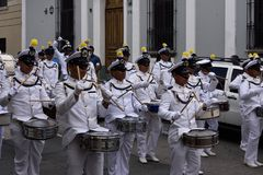 Military navy band. Drummers partecipating in preparation of parade in honor of Guatemala Independance day. 16/09/2017. Guatemala city Royalty Free Stock Image