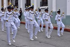 Military navy band. Drummers partecipating in preparation of parade in honor of Guatemala Independance day. 16/09/2017. Guatemala city Stock Photography