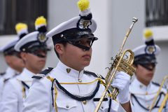 Military navy band. Partecipating in preparation of parade in honor of Guatemala Independance day. 16/09/2017. Guatemala city Royalty Free Stock Images