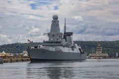 Military navy ship in port Stock Image