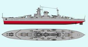 Military navy ships. Vector art illustration of battleship Stock Images
