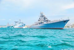 Military navy ships in order Stock Photo