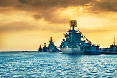 Military navy ships in a sea bay Royalty Free Stock Images
