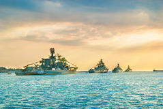 Military navy ships in a sea bay Royalty Free Stock Photo