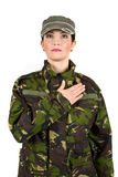 Military oath. Army soldier swear solemnly  with hand on heart to defend country,check also Camouflage Stock Photos