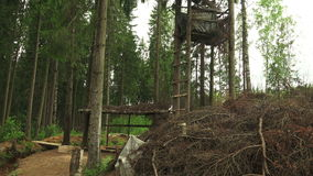 Military observation tower for in the forest. 4K. stock video footage