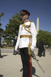 Military officer in full dress uniform Stock Images
