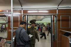 Military officer in the metro, Pyongyang, North Korea Royalty Free Stock Photography