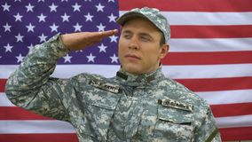 Military officer saluting on national flag behind, american armed forces, hero. Stock footage stock video