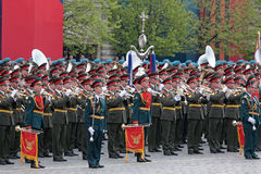 A military orchestra. MOSCOW - MAY 09: Celebration of the 66 anniversary of the Victory Day (WWII) on Red Square on May 9, 2011 in Moscow, Russia. A military Stock Image