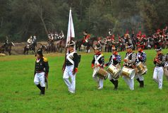 Military orchestra at Borodino 2012 historical reenactment Royalty Free Stock Images