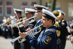 Military orchestra on ceremony Royalty Free Stock Images