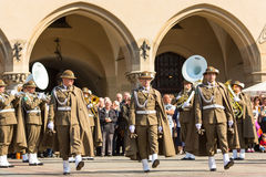 Military orchestra on main square during annual Polish national and public holiday the Constitution Day. Royalty Free Stock Photography