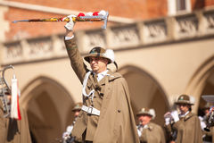 Military orchestra on main square during annual Polish national and public holiday the Constitution Day Stock Image