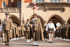 Military orchestra on main square during annual Polish national and public holiday the Constitution Day Stock Photos