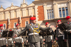 Military orchestra on main square during annual Polish national and public holiday the Constitution Day. Royalty Free Stock Images