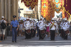 Malta - Military band. Malta, Valletta - July 31, 2015: Band of the Armed Forces of Malta during ceremony of the formal handing over of responsibility from one Royalty Free Stock Images