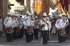 Malta - Military band. Malta, Valletta - July 31, 2015: Band of the Armed Forces of Malta during ceremony of the formal handing over of responsibility from one Royalty Free Stock Photos