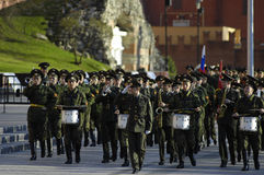 Military orchestra marching Royalty Free Stock Images