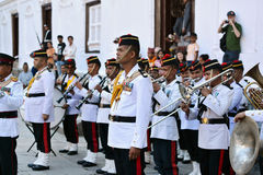 The Military Orchestra of Nepal. KATHMANDU - OCT 11: Musicians of the Nepalese Military Orchestra waiting for the show, in the inner courtyard of the Royal Stock Photos
