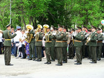 Military orchestra on parade Royalty Free Stock Images